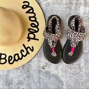 Sanuk grey leopard with pink yoga sling sandals